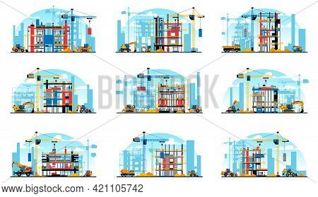 A Set Of Buildings Under Construction On The Background Of A City Under Construction. A Site With He
