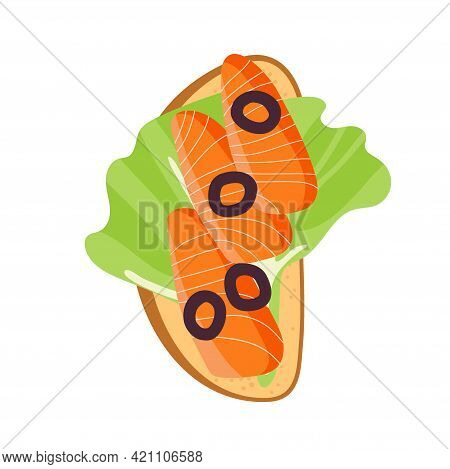 Sandwich With Lettuce Leaf, Olives, Salmon. Snack. Overhead View Of Isolated Fresh Raw Salmon Fish S