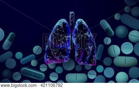 3d Human Lungs Medicine Microscopic Research Concept. Respiratory Virus Infection Covid-19 Coronavir