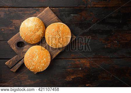 Hamburger Bread Homemade Brioche Hamburger Buns Set, On Wooden Serving Board, On Old Dark  Wooden Ta
