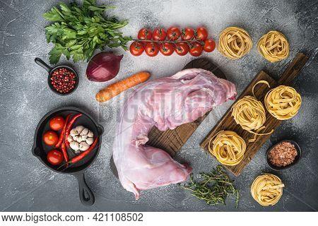 Rabbit Stew Tagliatelle Ingredients Set, On Gray Stone Background, Top View Flat Lay