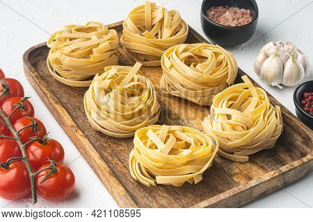 Fettuccine Tagliatelle Pasta Italian Food Ingredients Set, On White Stone  Background