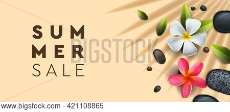 Summer Sale Banner With Palm, Frangipani Flowers. Background For Poster, Flyer, Card, Postcard, Cove