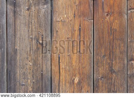 Wooden Background, Old Village Fence With Slits And Nails