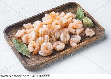 Boiled Peeled Shrimp Prawns Cooked Set, On Wooden Tray, On White Stone  Background