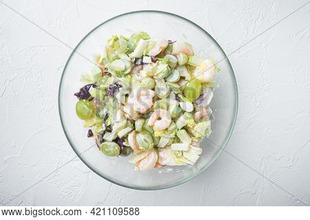 Prawn Waldorf Salad Set , With Sauce Apple And Grape, On White Background, Top View Flat Lay