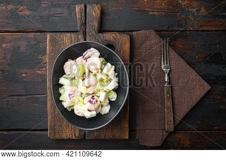 Prawn Waldorf Salad Set , With Sauce Apple And Grape, On Old Dark  Wooden Table, Top View Flat Lay,