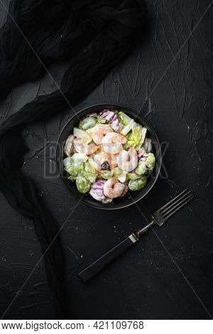 Prawn Waldorf Salad Set , With Sauce Apple And Grape, On Black Stone Background, Top View Flat Lay,