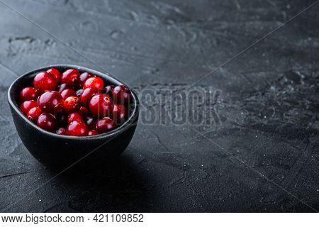 Cranberry, Ripe Red Berry In Bowl With Space For Text, On Black Background.