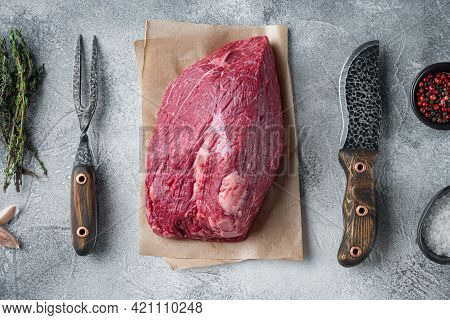 Beef Cut  Raw Set With Old Butcher Cleaver Knife, On Gray Background, Top View Flat Lay