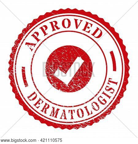 Red Approved Dermatologist Seal Stamp With Icon Inside. Vector Approved Dermatologist Seal With Circ