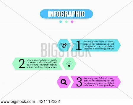 Hexagon Design Illustration With 3 Steps, Options, Marketing Icons To Analyze Or Prepare For Work In