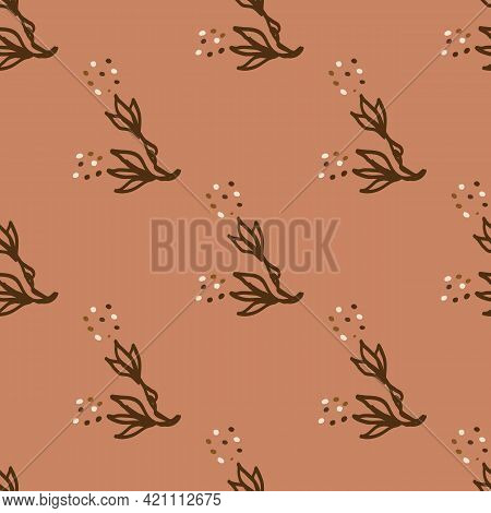 Seamless Minimalist Doodle Floral Pattern Background. Calm Boho Earthy Tone Color Wallpaper. Simple