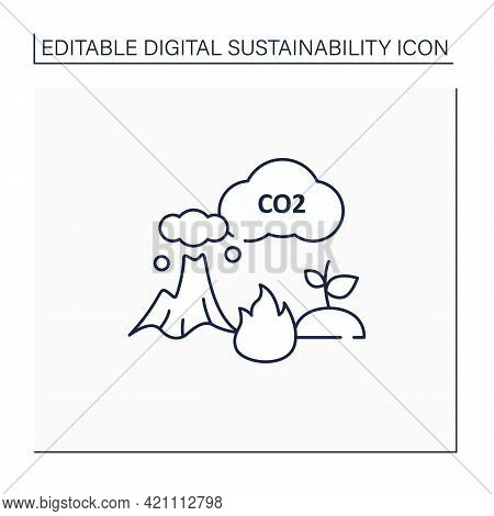 Carbon Emission Line Icon.co2. Emit Gas Into Atmosphere. Climate Change. Negative Impact On Environm