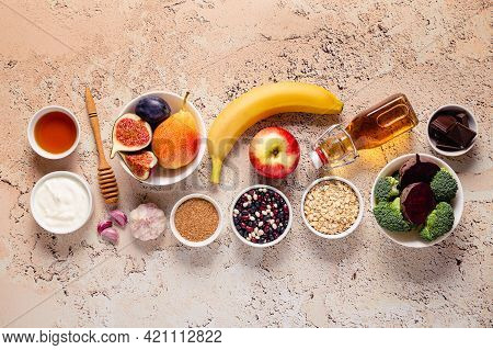 Products For Healthy Bowel. Natural Food For Gut. Top View.