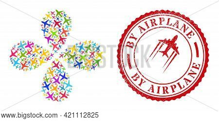 Airplane Bright Curl Flower With Four Petals, And Red Round By Airplane Scratched Stamp Seal. Airpla