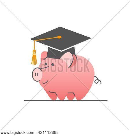 College Savings Flat Linear Vector Concept. Cute Piggy Bank In Bachelor Cap. Student Loan Icon. Savi