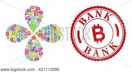 Bitcoin Multi Colored Curl Fireworks, And Red Round Bank Corroded Rubber Print. Bitcoin Symbol Insid