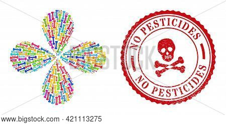 Bone Colored Curl Motion, And Red Round No Pesticides Rubber Print. Bone Symbol Inside Round Rubber