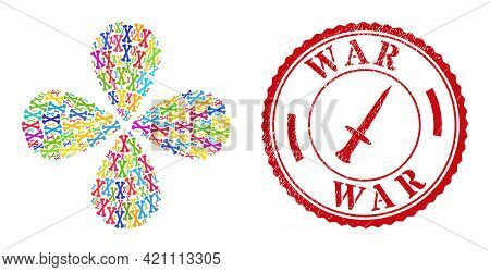 Bones Colorful Exploding Abstract Flower, And Red Round War Rubber Stamp Imitation. Bones Symbol Ins