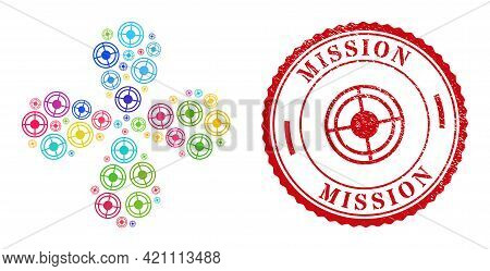 Bullseye Multicolored Twirl Burst, And Red Round Mission Scratched Stamp Print. Bullseye Symbol Insi