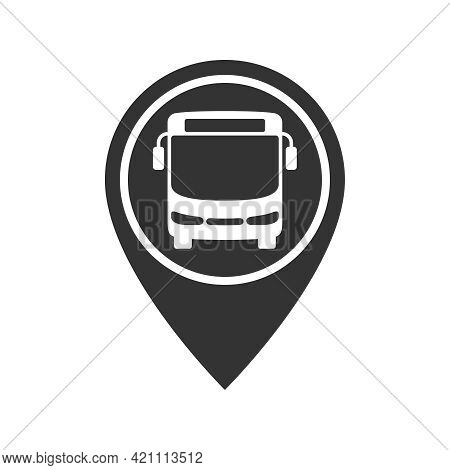 Bus On The Map Pointer Graphic Icon. Bus Stopped Sign Isolated On White Background. Vector Illustrat