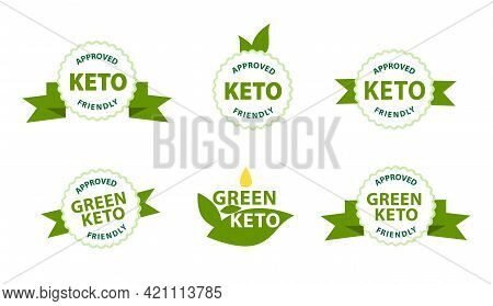 Keto Friendly, Approved Stamp. Ketogenic Diet Approved Label In Eco Style With Green Ribbons. Guaran