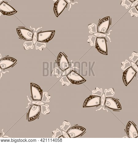 Seamless Minimalist Doodle Butterfly Pattern Background. Calm Boho Earthy Tone Color Wallpaper. Mode