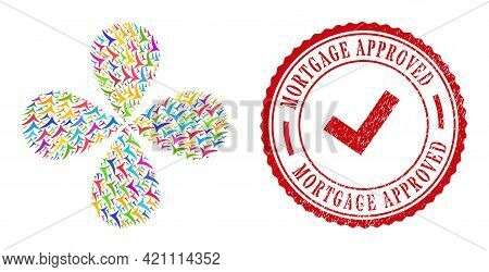 Confirm Bright Rotation Flower Cluster, And Red Round Mortgage Approved Rough Stamp Imitation. Confi