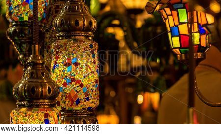 Traditional Handmade Turkish Lamps In Souvenir Shop. Mosaic Of Colored Glass. Lamps Orientals Au Gra