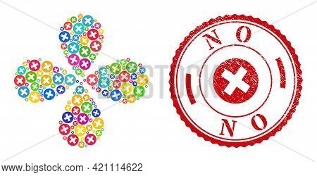 Delete Colorful Curl Flower With Four Petals, And Red Round No Corroded Watermark. Delete Symbol Ins