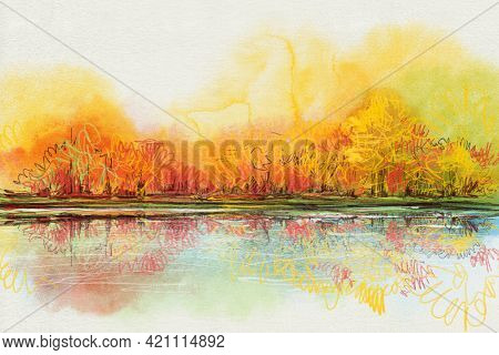 Autumn Landscape With The River.  Illustration With  Watercolor And Colored Pencils.