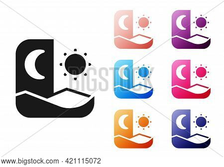Black Ramadan Fasting Icon Isolated On White Background. Fast Day And Night. Religious Fasting. Set