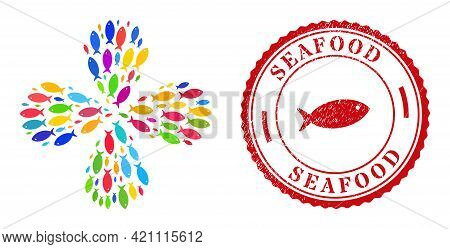 Fish Multicolored Rotation Flower With 4 Petals, And Red Round Seafood Grunge Stamp. Fish Symbol Ins