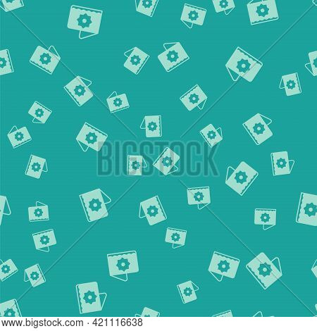 Green Islamic Octagonal Star Ornament Icon Isolated Seamless Pattern On Green Background. Vector