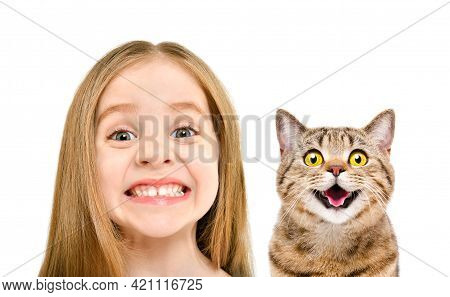 Portrait Of Cute Smiling Girl And A Cat Scottish Straight, Closeup, Isolated On White Background