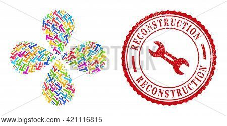 Hammer Tool Multicolored Explosion Flower Shape, And Red Round Reconstruction Unclean Stamp. Hammer