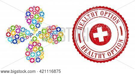 Healthcare Multicolored Curl Abstract Flower, And Red Round Healthy Option Textured Stamp Seal. Heal