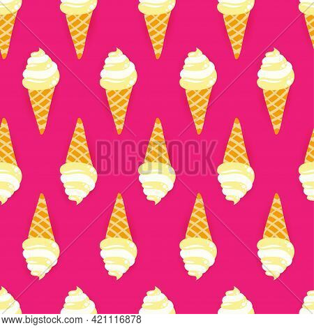 Cute Vanilla Ice Cream Pattern Background With Summer Feeling - Funny Vector Drawing Seamless Patter
