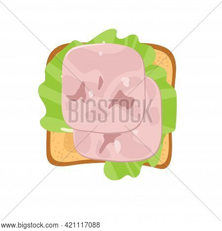 Sandwich With Lettuce Leaf, Ham Slices. Overhead View Of Isolated Meat Delicatessen Product On Toast