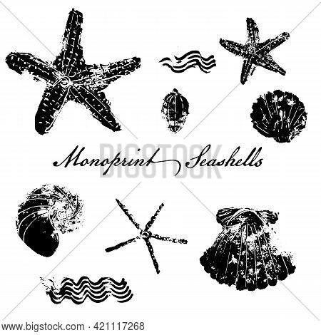 Seashells And Starfish Stamp Effect Icon Set. Mono Print Technique. Vector