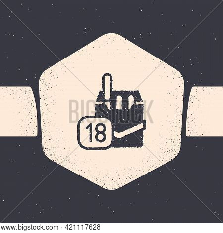 Grunge Cigarettes Pack Box Icon Isolated On Grey Background. Age Limit For Cigarettes. Cigarettes Pa