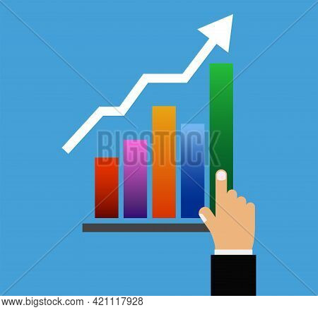 Rising Graph , Financial Chart With Arrow, Business Marketing Concept,  Vector Illustration