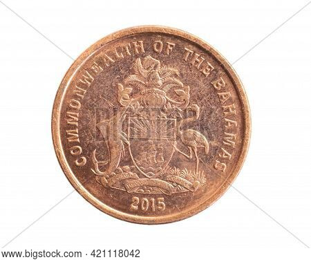 Bahamas One Cent Coin On A White Isolated Background