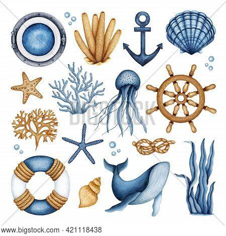 Nautical Watercolor Set. Travel Ship Equipment - Lifebuoy, Steering Wheel, Porthole, Anchor, Rope Kn