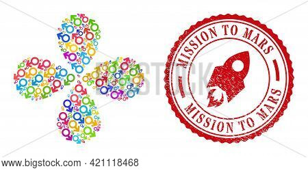 Male Symbol Colored Centrifugal Flower Cluster, And Red Round Mission To Mars Dirty Badge. Male Symb