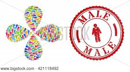 Male Tie Colored Twirl Flower With 4 Petals, And Red Round Male Grunge Stamp Print. Male Tie Symbol