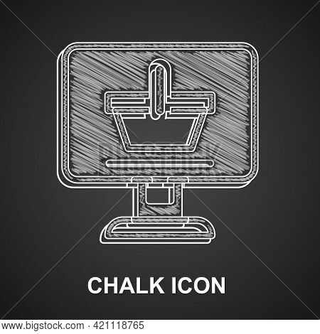 Chalk Shopping Cart On Screen Computer Icon Isolated On Black Background. Concept E-commerce, E-busi