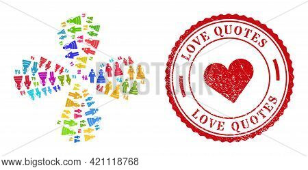 Marriage Persons Colored Curl Twist, And Red Round Love Quotes Scratched Stamp Print. Marriage Perso