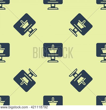 Blue Shopping Cart On Screen Computer Icon Isolated Seamless Pattern On Yellow Background. Concept E